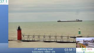 Wilfred Sykes Great Lakes Freighter Passing by South Haven LightHouse 11.28.19