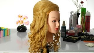 Romantic hairstyle with french waterfall braid for long hair.