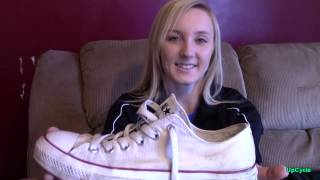 Upcycle: Brittney's white Converse sneakers (sold)