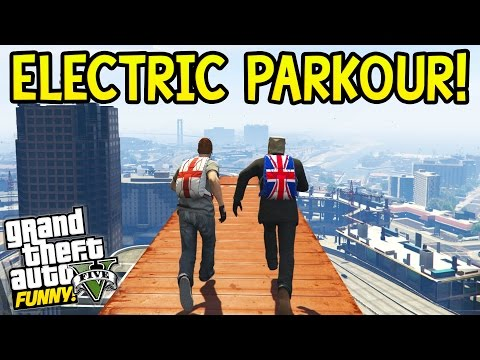 ELECTRIC PARKOUR! GTA 5 Funny Moments: Olli43 vs Geo23!