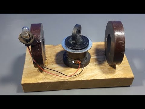free energy generator light bulb with magnets & Dc motor - science projects 2018 thumbnail