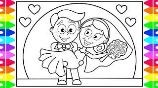 How to Draw Little Bride and Groom- How to Draw for Kids (Step by Step)- Fun Coloring Pages Kids