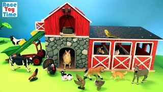 Farm Barn Stable Playset with Schleich Fun Animals Toys Surprise For Kids - Learn Animal Names Video