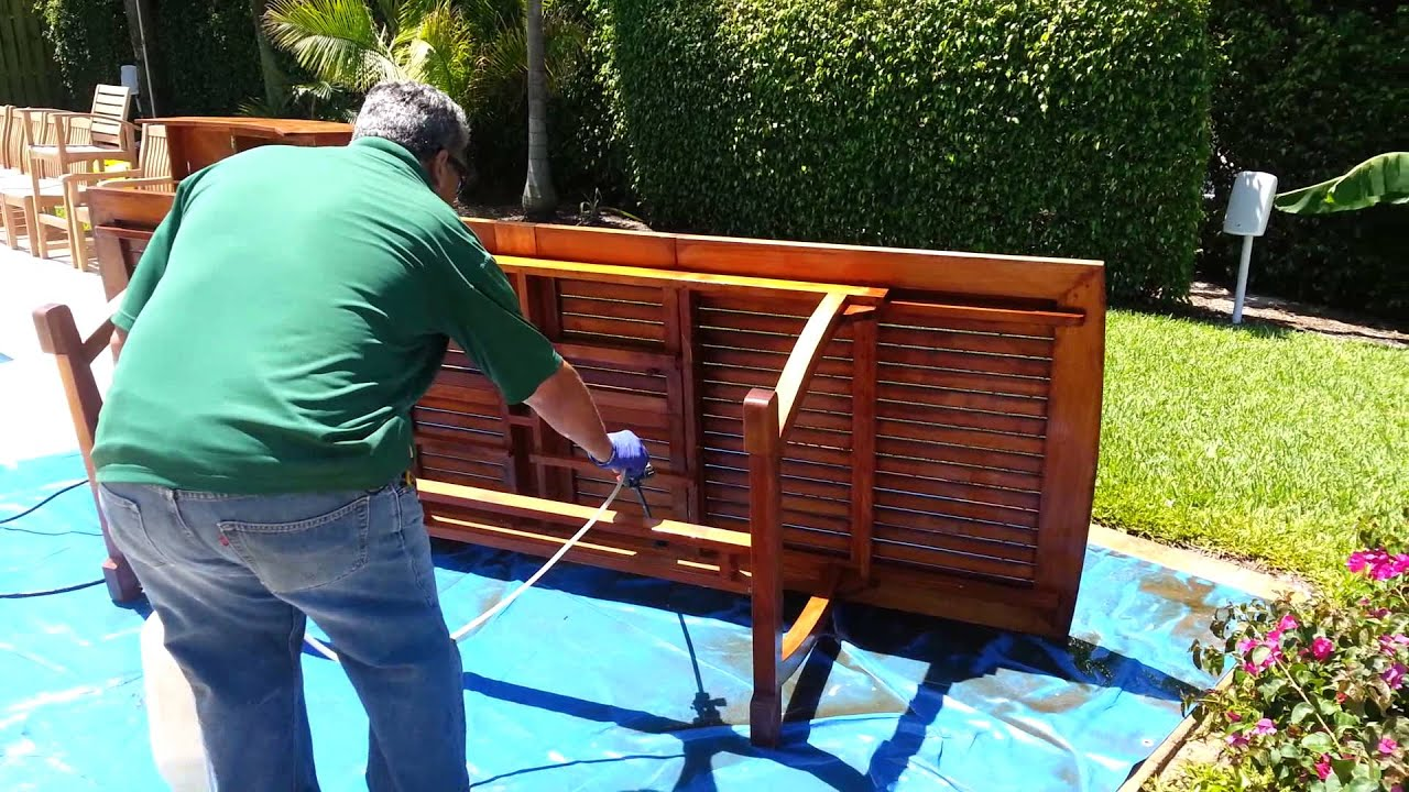 Cleaning teak outdoor furniture youtube for Outdoor furniture cleaner