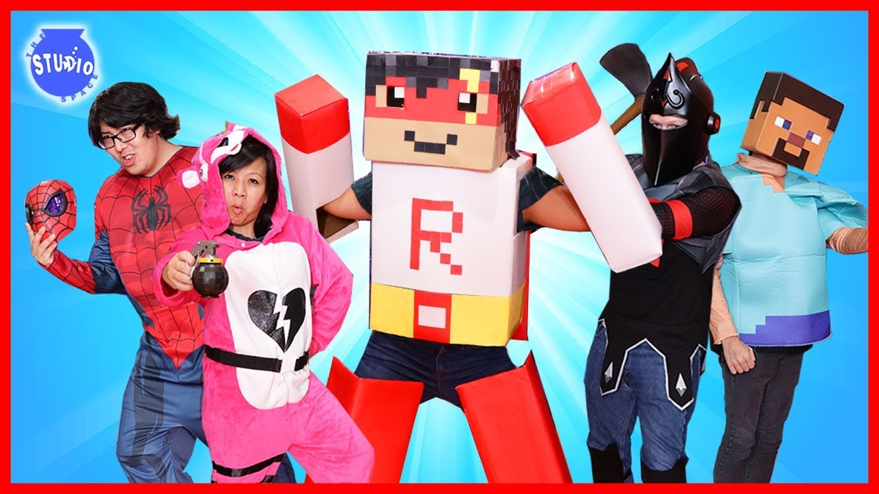 Halloween Costumes Runway Show Video Games Edition! Let's Play FORTNITE, MARIO, ROBLOX Costumes IRL