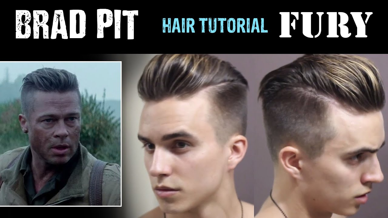 brad pitt hair tutorial from fury mens hairstyles dre