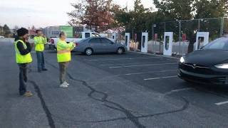 Tesla Holiday Easter Egg Light Show For Electrical Workers @ Woodbridge Potomac MIlls Supercharger