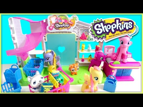 Shopkins small mart mlp pinkie pie goes shopping skit my little