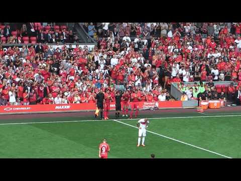 Do Liverpool Fans want Luis Suarez to Leave? ...coming on v's Olympiakos (Steve Gerrard Testimonial)