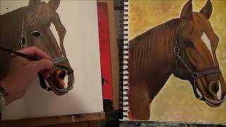 How to paint a horse using only 3 colors easy  Acrylic Painting for Beginners Part 2