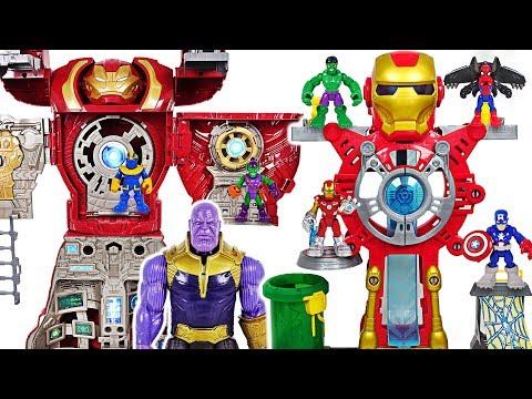 Marvel Avengers Iron Man Headquarters vs Hulkbuster Ultimate transform HQ, Thanos! #DuDuPopTOY