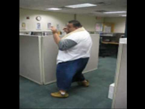 fat guy dancing in office