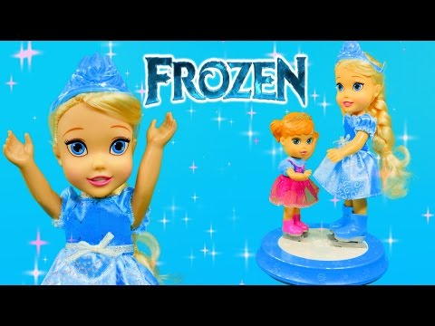 Frozen Young Elsa & Anna with Ice Skating Rink Disney Princess Doll Toys Review by DCTC