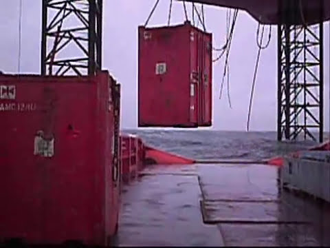 Offshore oilfied cargo operations wintertime North Sea