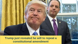 Trump just revealed he will to repeal a constitutional amendment through executive order