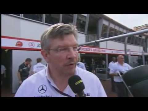 F1 2010 Monaco GP -- Ross Brawn explains Michael Schumacher's overtake on Alonso.