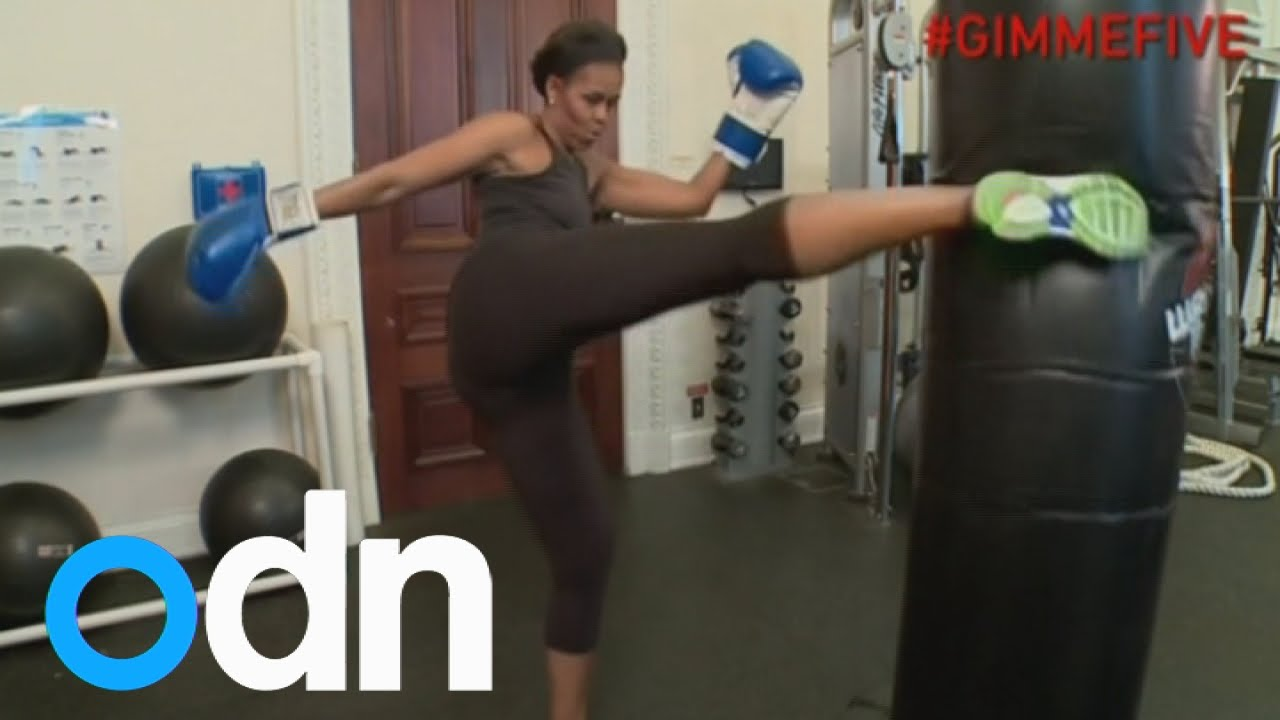 Michelle Obama shows off fitness in workout video