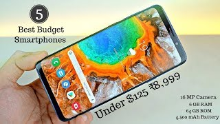 5 Best Budget Smartphones Under $125 ₹8,999 In 2018