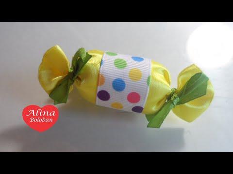 Как сделать конфетки из атласной ленты