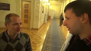 Депутат ВР Украины В.Парасюк на защите обворованных Сабадашом 650 жителей Кодак.