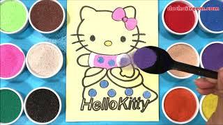 Đồ chơi TÔ MÀU TRANH CÁT MÈO HELLO KITTY CÔNG CHÚA - Colors sand painting kitty toys (Chim Xinh)
