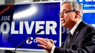 Finance Minister Joe Oliver speaks to reporters about the Economy