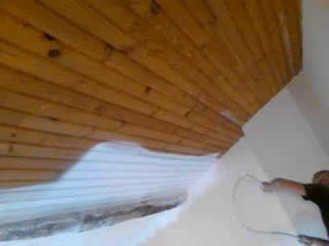 A k d co peinture d 39 un plafond en lambris au pistolet airless a montauban 82000 youtube for Peindre lambris bois