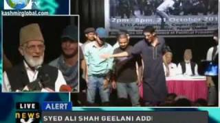 Syed Ali Gilani attacked in a Seminar Kashmir AZADI The Only Way in Delhi