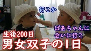 【1日密着】男女双子赤ちゃん生後200日!名古屋のばあちゃんに会いに mix twins baby To meet a grandma of Nagoya