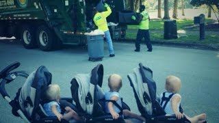 Adorable 2-Year-Old Triplets Are Best Friends With Their Garbage Men