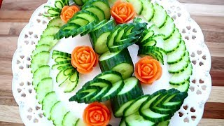 Art In Cucumber & Carrot Flower | Vegetable Carving Garnish | Party Food Decoration