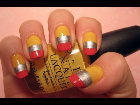 Back-To-School Tutorial: Pencil Nail Art - nail-arts video