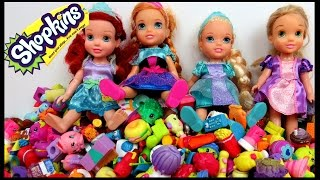 Cool Shopkins GAME! Elsa, Anna, Rapunzel & Ariel toddlers PLAY