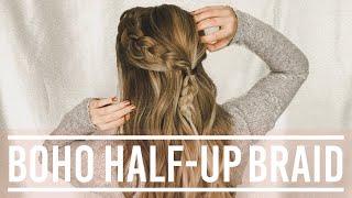EASY Boho Half UP Braid - LAZY DAY HAIRSTYLE || Hazel Darling