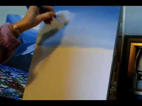 Acrylic Painting Lesson 1 how to paint Puffy Fluffy Clouds for a waterfall painting.