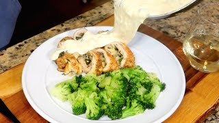 EASY CHEESY BAKED SPINACH DIP STUFFED CHICKEN [Keto & Low Carb Friendly]