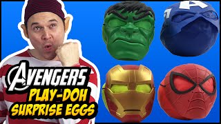 Superheroes Avengers Play Doh Surprise Eggs With Hulk Captain America Iron Man and Spider-Man