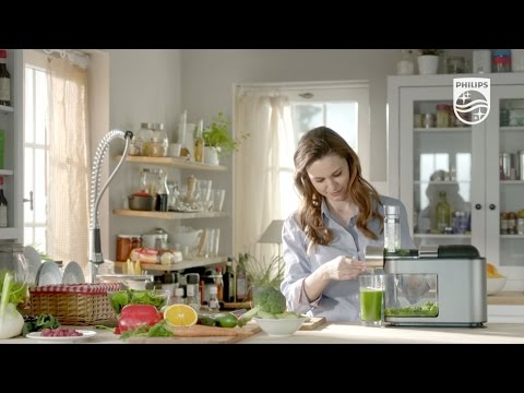 Extrage pana la 90% suc din fructe si legume cu storcatorul prin presare la rece Philips