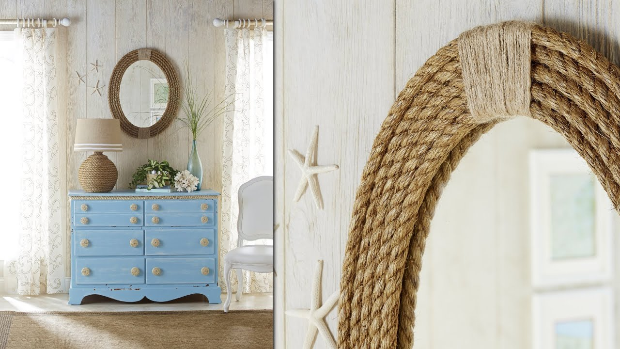 Nautical rope mirror frame diy rope projects youtube for Nautical projects
