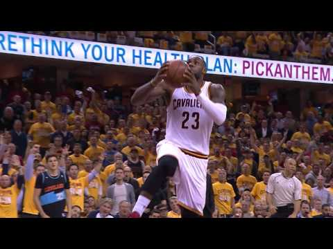 LeBron James Elevates and Slams the Reverse Dunk