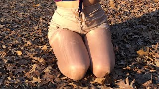 Abby at Botanical Gardens in Nude Tights/Pantyhose