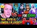 Tfue SCARED After Being CHALLENGED By 4 PRO CONSOLE PLAYERS To A 1V4 BUILD BATTLE For $2000! (CRAZY)