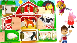 Best Learning Colors Animal Names -  Paw Patrol on the Farm Open the Barn