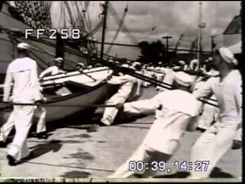 Stock Footage: Merchant Marine Cadet Training WWII 1940s