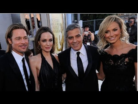 Brad Pitt and Angelina Jolie, George Clooney and Stacy Keibler, and Cute Couples at the SAG Awards