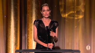 Angelina Jolie receives the Jean Hersholt  Award at the 2013 sincere tears and said