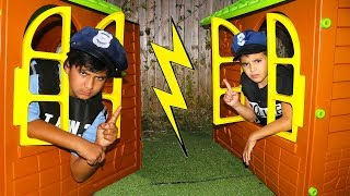 Adel and sami Pretend Play with Playhouse for kids
