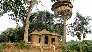 Build An Amazing Primitive Mud House Attaching 3 Tiled Roof Hut -  Making Round Hut Under Tree House
