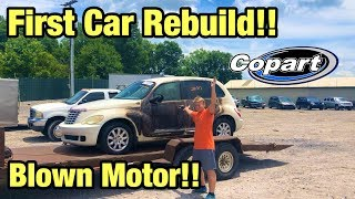 Rebuilding My First Wrecked Car Totaled Pt Cruiser turbo Blown Motor From Copart Salvage Auction