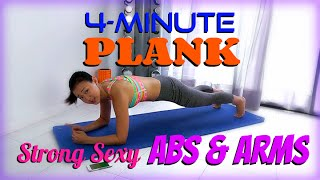 4-Minute PLANK to Strong Sexy ABS & ARMS (Do It!)